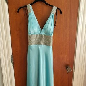 Blue and Silver Beaded Evening Gown